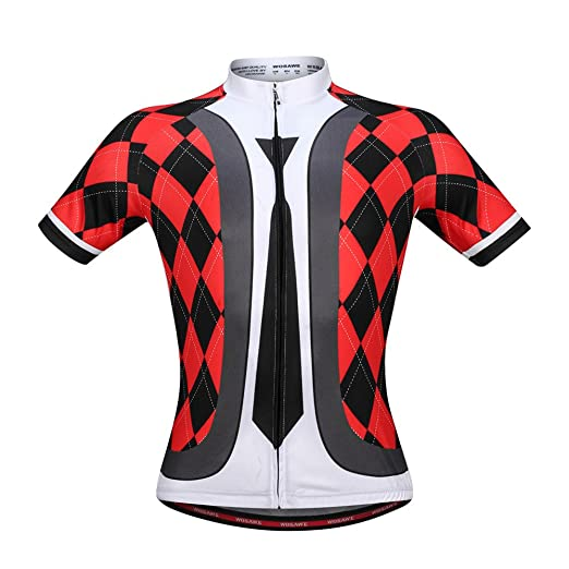 14bb5e510 WOSAWE Men Short Sleeves Cycling Jersey Breathable Necktie Graphic Pattern  Bicycle Jersey Size M