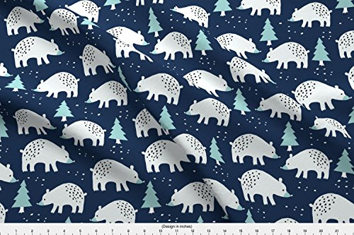 Spoonflower Bear Fabric Polar Bears In The Winter Forest by Heleen Vd Thillart Printed on Fleece Fabric by the Yard
