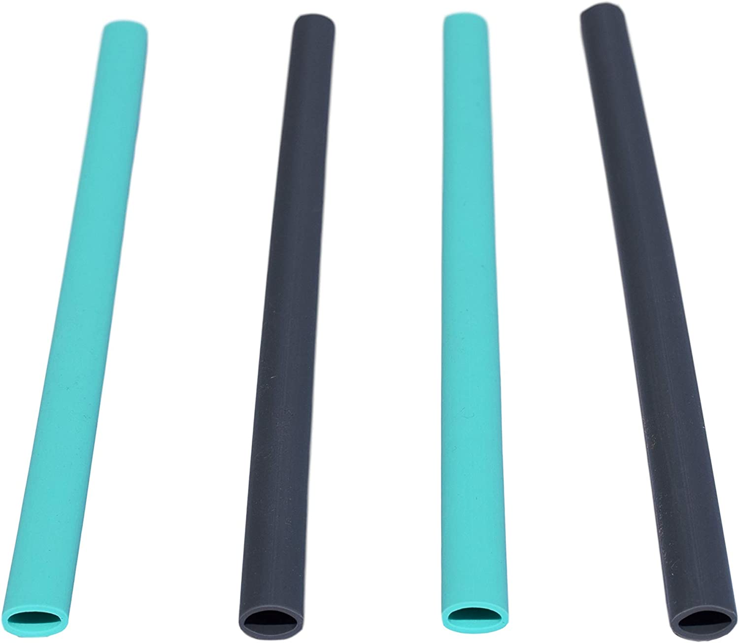 HotSips Reusable Straws 4 Large with Travel Case, 2 Aqua + 2 Charcoal Reusable ECO Friendly Straws For Both Cold & Hot Large Beverages 20oz - 40oz Non Toxic BPA Free FDA Grade material Recyclable