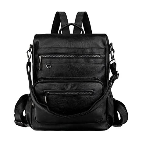 Mynos Women Backpack Purse 3 Ways Ladies Rucksack Anti-Theft Convertible Travel  Bag PU Leather Crossbody Shoulder Bag (Anti-theft Black)  Amazon.co.uk  ... 76036567fd7a4