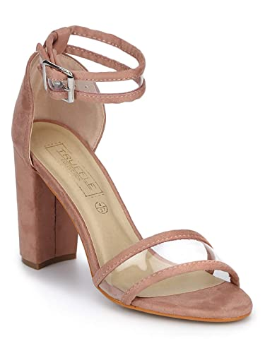 d0a05c9ca2fe TRUFFLE COLLECTION Nude Micro Perspex Ankle Strap Block Heels  Buy Online  at Low Prices in India - Amazon.in