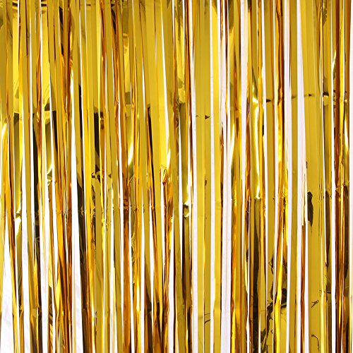 Poise3EHome 3 FT x 8 FT Metallic Tinsel Foil Fringe Curtain Backdrop for Party Wedding Decoration (Pack of 2, Total 6 FT x 8 FT), Gold