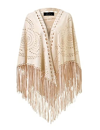 d5168257e Ferand Women's Faux Suede Fringe Open Poncho Shawl Wrap with Punch Hole  Patterns and Graceful Fringes