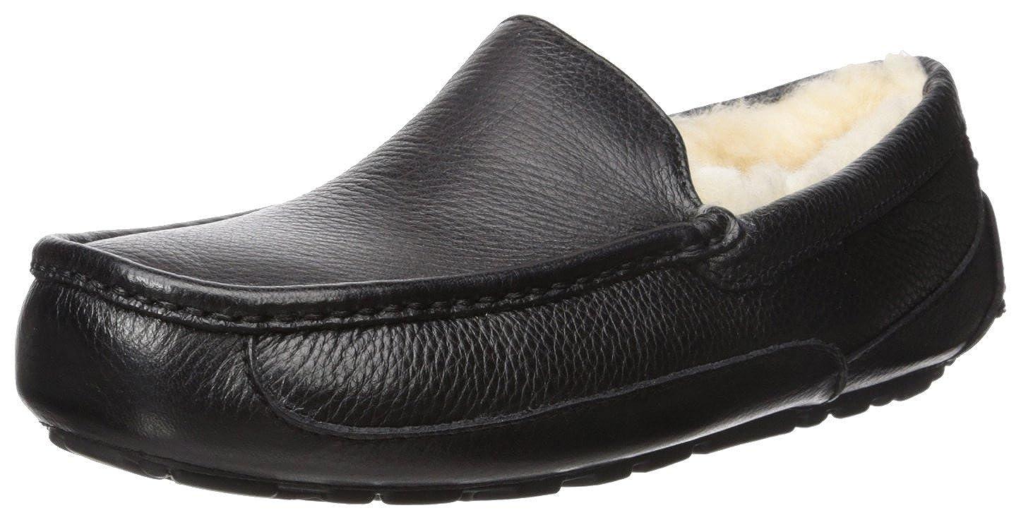 fcf4f4edc21 UGG Men's Ascot Slipper, Black Leather, 15 M US: Amazon.co.uk: Shoes ...