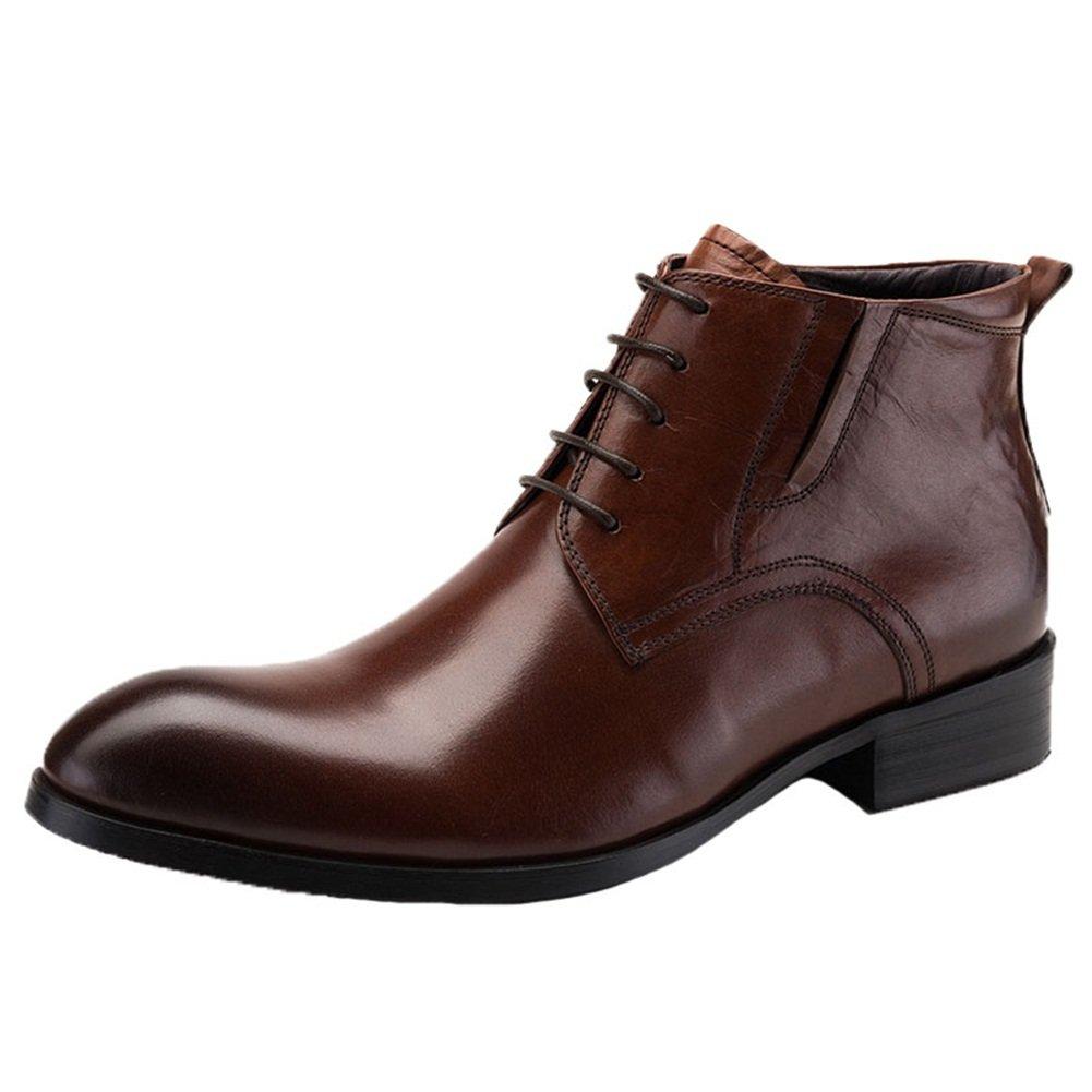 Santimon Men's Dress Boots Leather Oxford Lace up Ankle Business Shoes Reddish Brown 9.5(D)M US