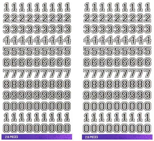 Sticko E5290113 Alphabet Varsity Numbers Stickers, Small, Black