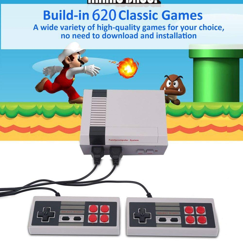 Mini Classic Game Consoles Mini Retro Game Consoles Built-in 620 Games Video Games Handheld Game Player (AV Out Cable 8-Bit) Bring You Happy Childhood Memories