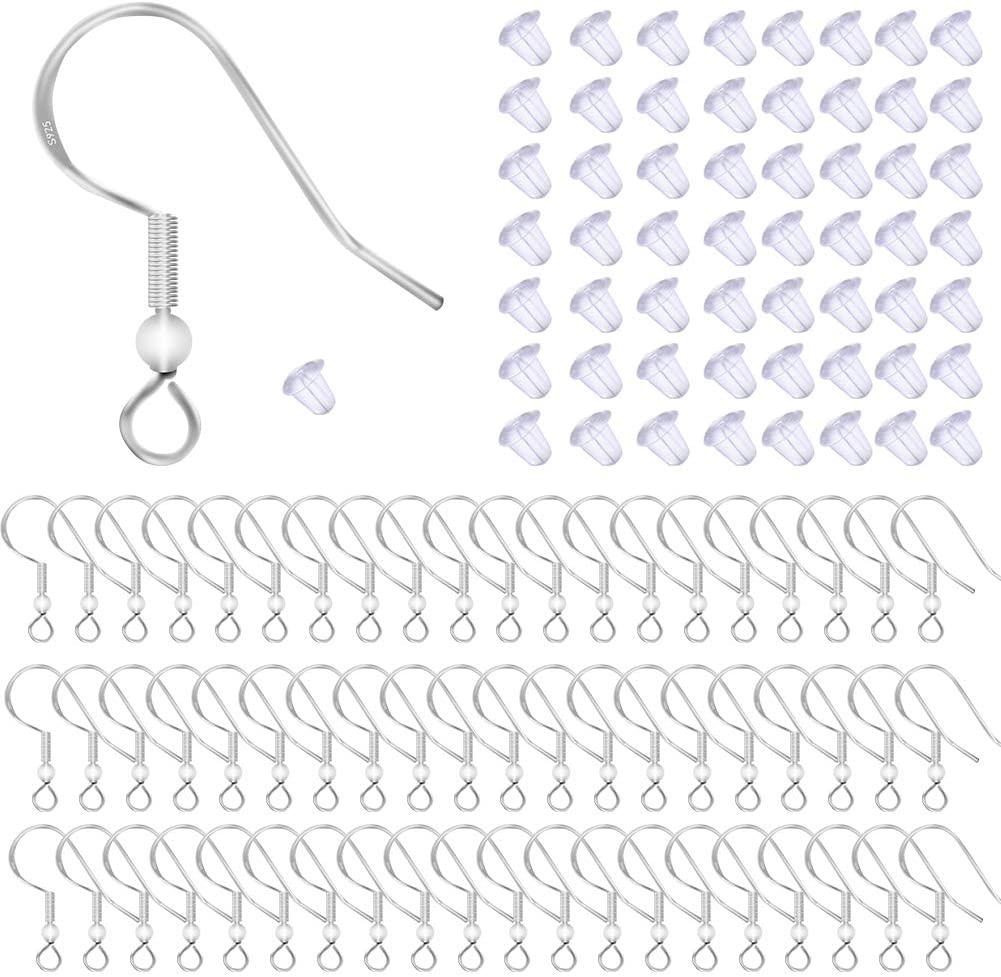 100 Pieces 50 Pairs 925 Sterling Silver 4 MM PAD Earring Post with PEG and Earring Backs