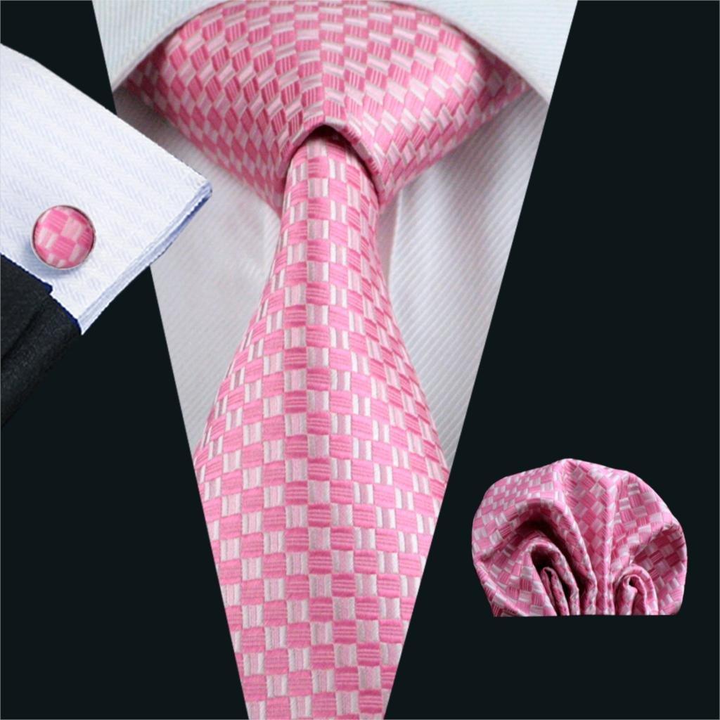 FA-448 Gents Necktie Pink Plaid 100/% Silk Jacquard Tie Hanky Cufflinks Set Business Wedding Party Ties For Men