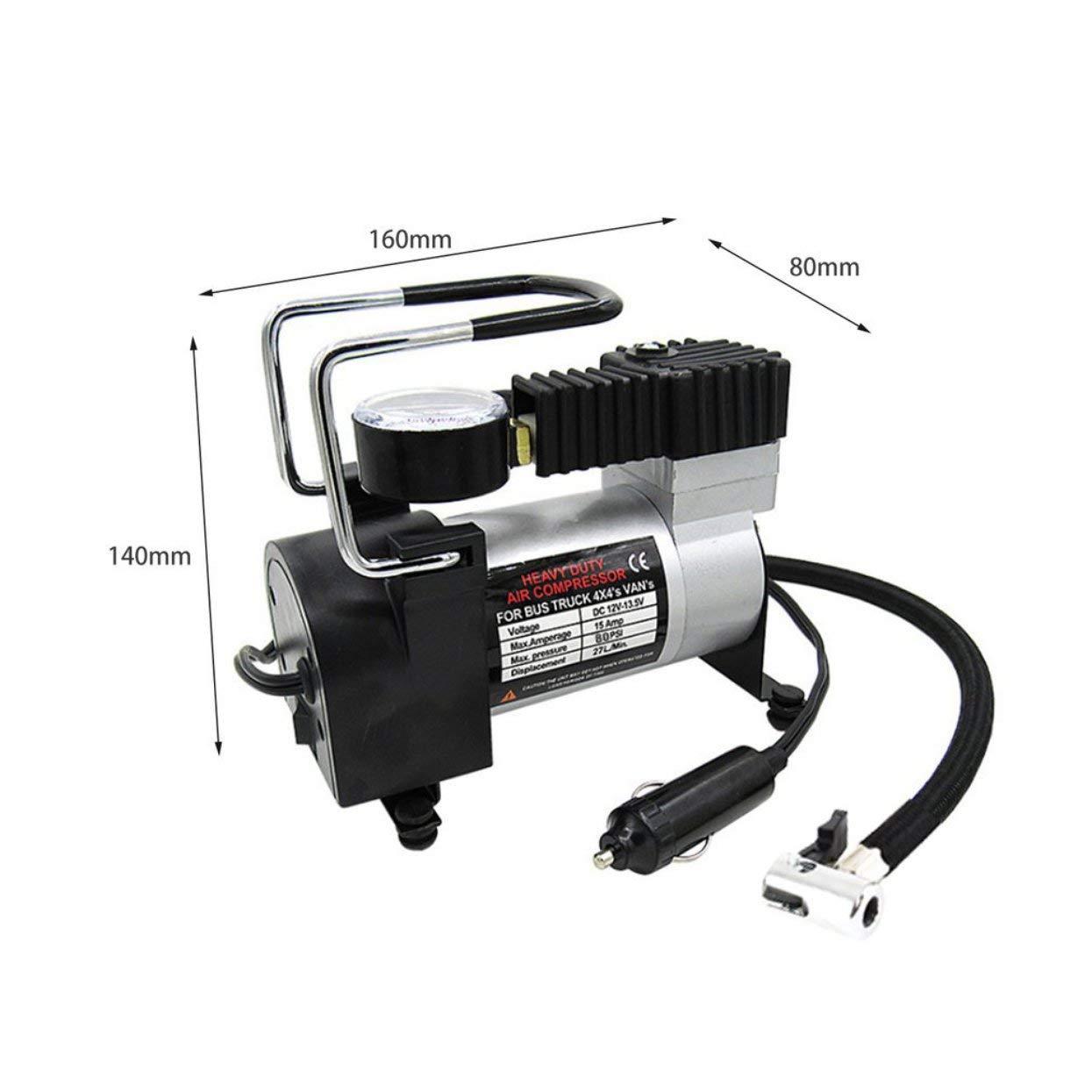 LoveOlvidoIT Portable Super Flow DC 12V 100PSI Metallo Compressore dAria Gonfiatore Auto Pompa di Aria Pompa del Veicolo Manometro Elettrico