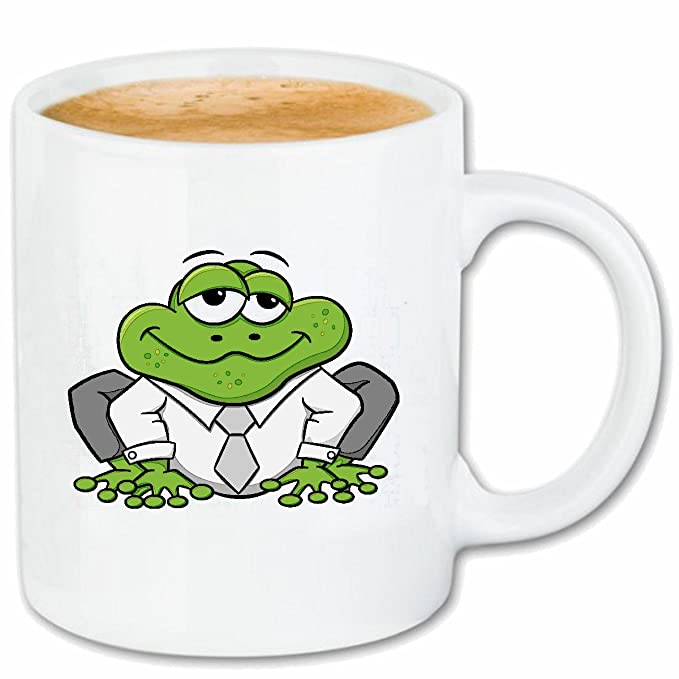 Taza párrafo café Rana divertida con un traje y corbata ranas y ...