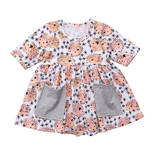 Price comparison product image Calsunbaby Toddler Infant Baby Girl Spring Clothes Set Animals Hedgehog Dresses (Light Orange,  0-1 Years)