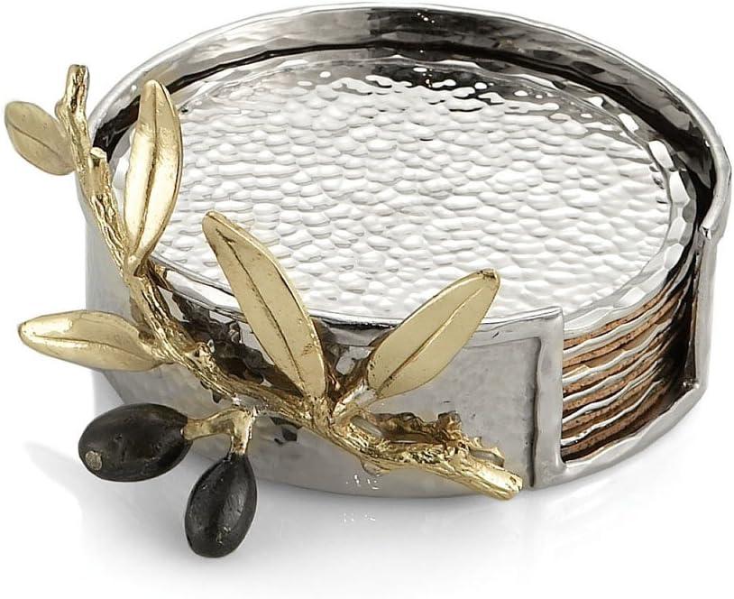 Michael Aram Olive Branch Drink Coaster Set, Gold