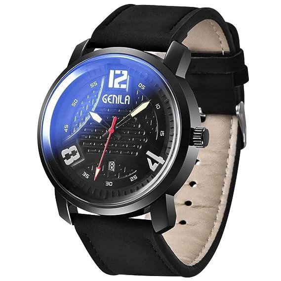 Wensltd Fashion hombre piel militar analógico digital relojes deportivos: Amazon.es: Relojes