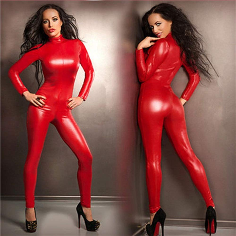 XDB Donna Pelle Catsuit Wetlook Tuta a Maniche Lunghe in Lattice con Cerniera Aspetto Tuta Catwoman Costume Abito in Maschera Vestito Aderente Body Rosso Puls Size S-5XL
