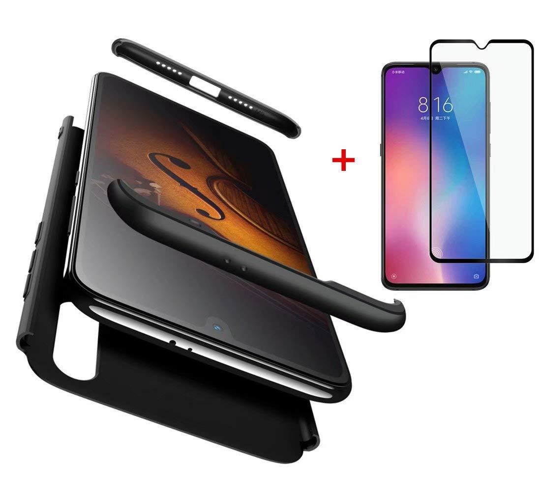 AILZH kompatibel für HandyHülle Xiaomi Mi 9 Hülle+[panzerglas]PC Hartschale 360 Grad Schutzhülle Schutzfolie Anti-Schock Anti-Kratz Stoßfänger bumper Matt Cover Case(Blau schwarz)