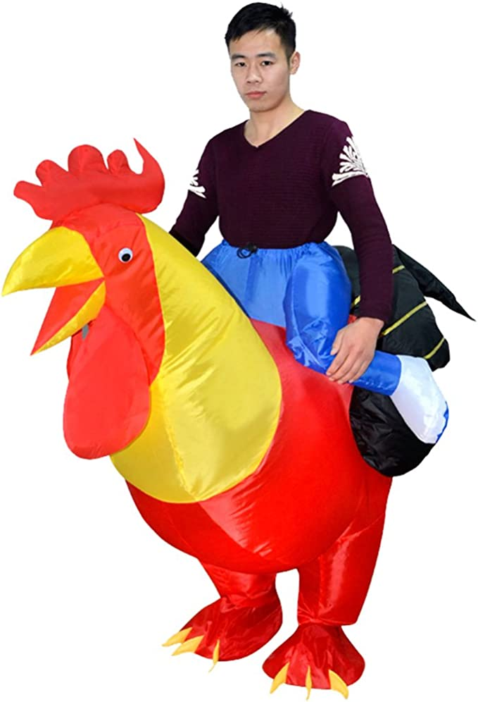 HHARTS Chicken Inflatable Costume Blow Up Cock Costume for Halloween Cosplay Party Christmas Inflatable Adult Kid Costume