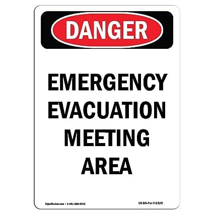 Señal de Osha Danger - Área de reunión de evacuación de ...