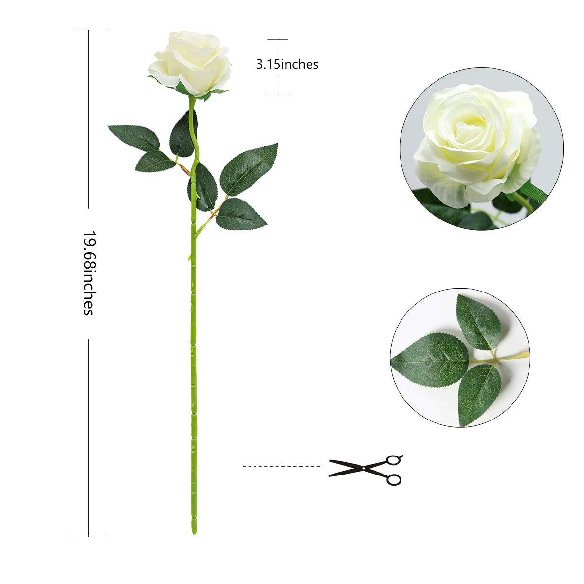 Bouquet da Sposa da Sposa in Seta per Decorazioni da Ufficio in casa per Feste in Giardino realistica Singola a Gambo Lungo Rosa Finta Tifuly 12 Pezzi Rose Artificiali