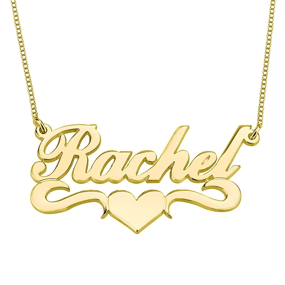 HACOOL Personalized Name Necklace Pendants in 18K Gold Plated Custom Made with Any Name 18'' Chain (Golden)