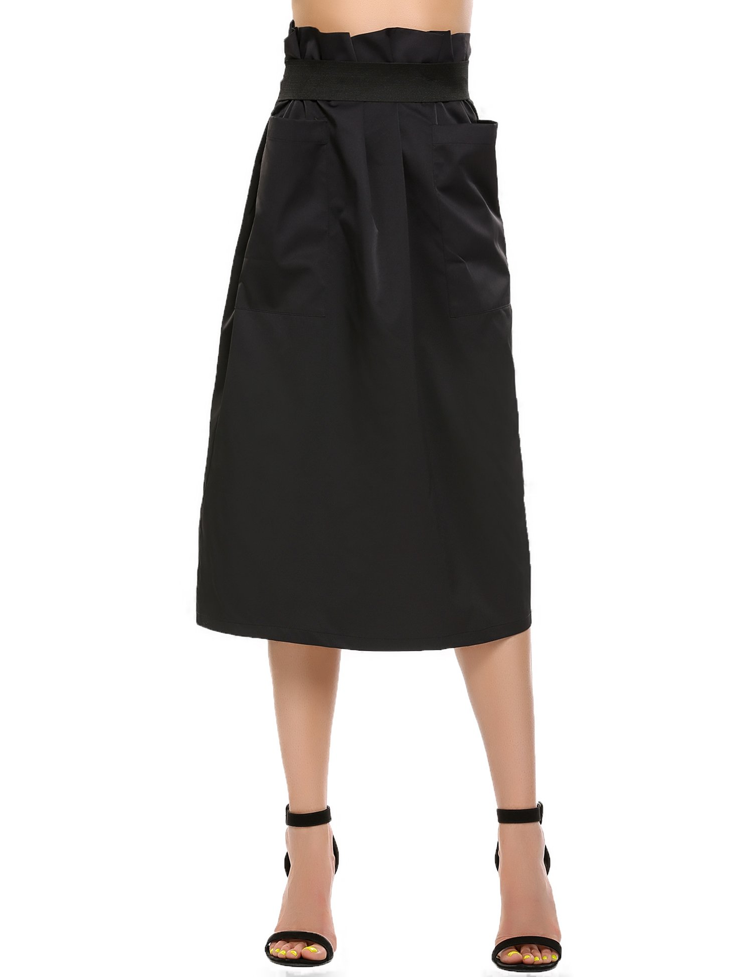 Women Casual High Waisted African A Line Maxi Long Skirt Black Small by Zeagoo (Image #5)