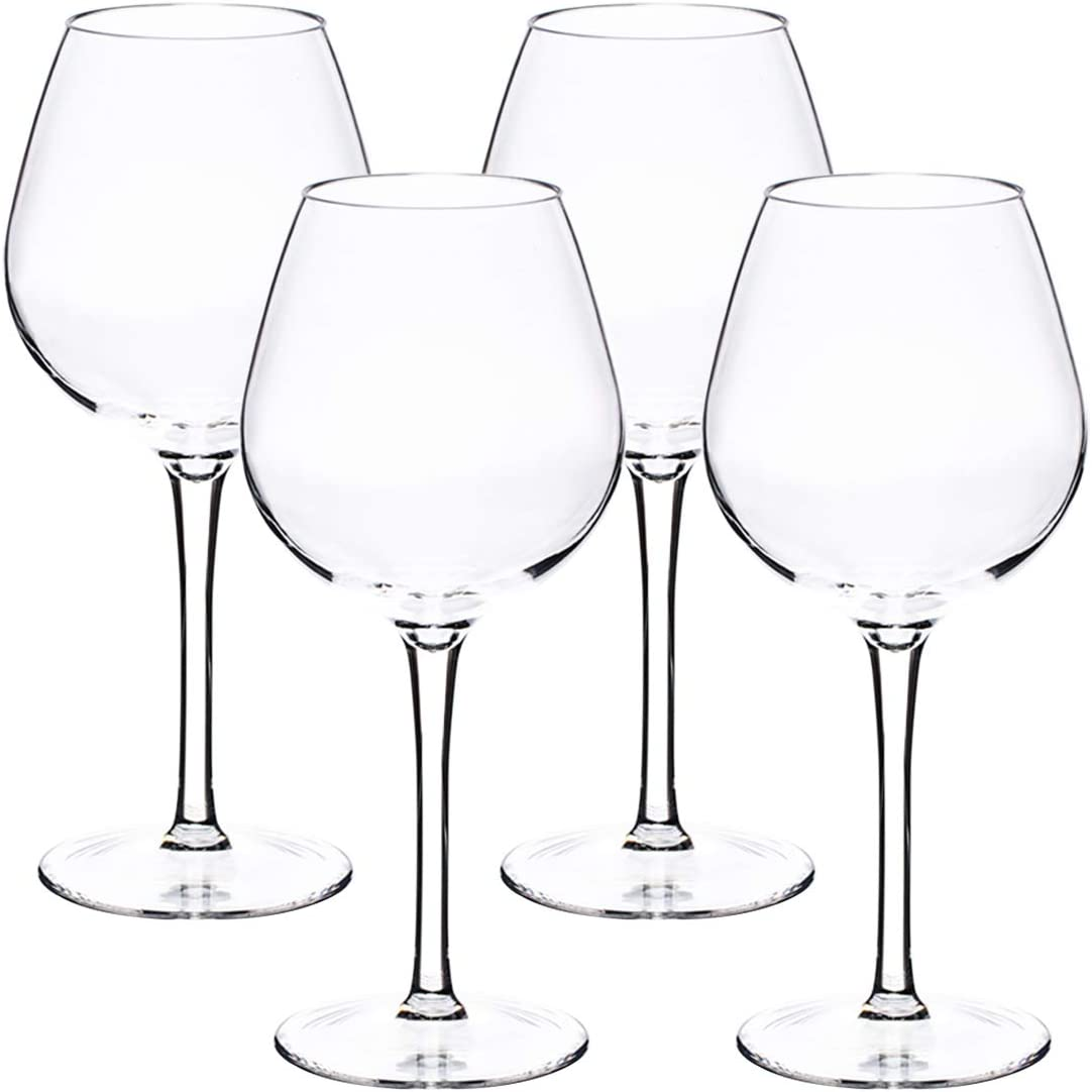 IDGIRLS Unbreakable Plastic Burgundy Wine Glasses, BPA-free and Reusable Goblet, 100% Tritan Plastic shatterproof Glass with Long-Stemmed, 17 oz Dishwasher Safe Wine Cups, Set of 4