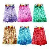 B&S FEEL Kid's Flowered Assorted Color Luau Hula Skirts, Pack of 6
