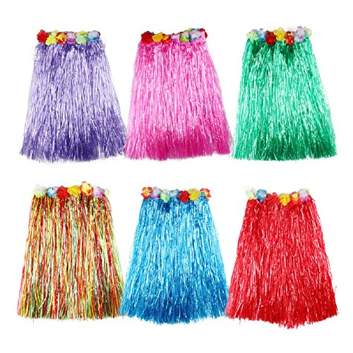 B&S FEEL Kid's Flowered Assorted Color Luau Hula Skirts, Pack of 6 -