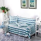 RUGAI-UE Sofa Slipcover General living room sofa cover cloth three sofa cloth Upholstered Sofa bed full lattice,Three seater 215×300cm,Elegant blue gray