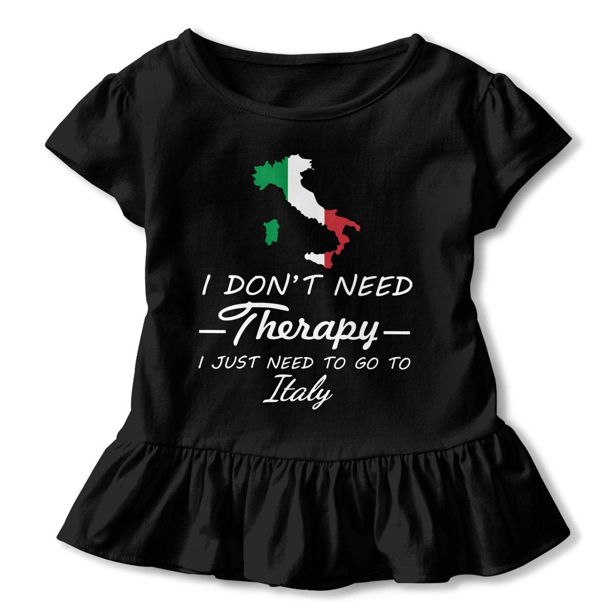 I Dont Need Therapy I Just Need to Go to Italy Childrens Girls Short Sleeve T Shirts Ruffles Shirt Tee Jersey for 2-6T