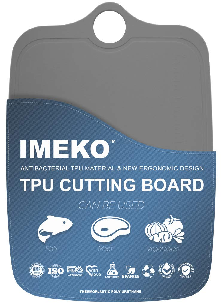 IMEKO New 2019 Kitchen Ergonomic Design TPU Cutting Board - Flexible, Food Safe, BPA free, Anti - Bacterial Chopping Mats