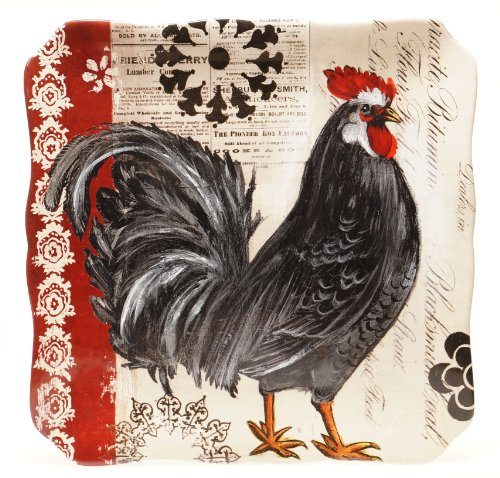 Rooster Square Platter - Certified International Fancy Rooster Square Platter, 14.5-Inch