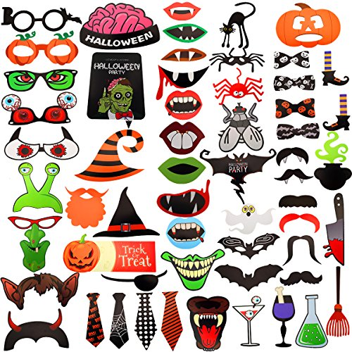 58Pcs Halloween Party Photo Booth Props Happy Halloween Props Kit for Party Decoration