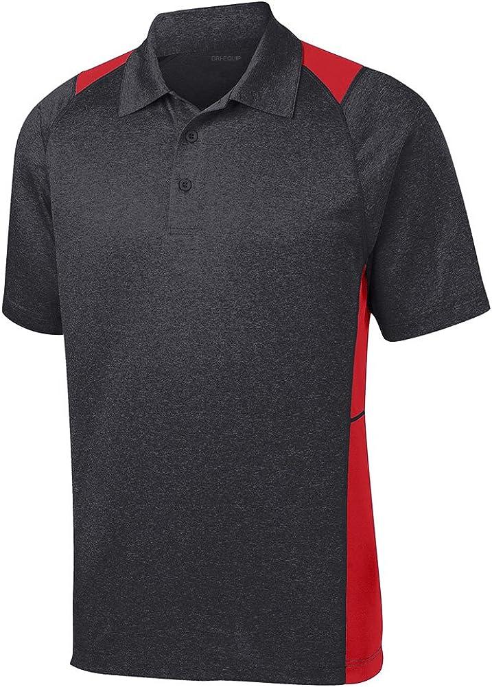 DRI-Equip Moisture Wicking 2-Color Athletic Polo-M-Graphite/True Red