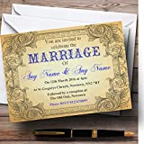 Typography Vintage Blue Postcard Personalized Evening Reception Invitations
