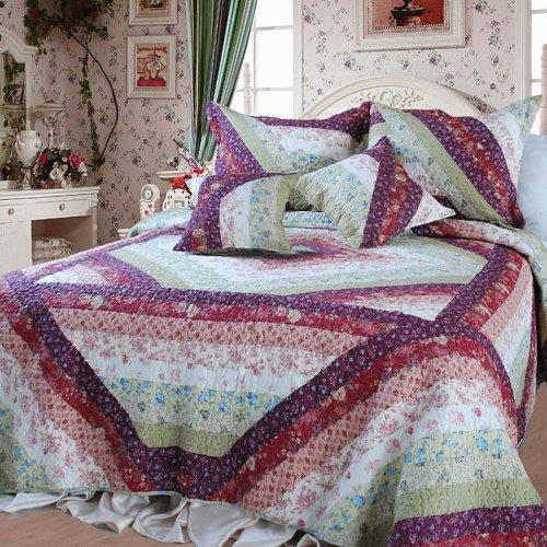 Quilt Garden Patch - DaDa Bedding DXJ100422 Floral Garden Cotton Patchwork 5-Piece Quilt Set, Queen/Full