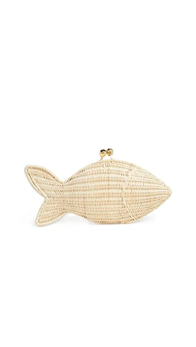 bf474067f Serpui Marie Women's Fish Clutch, Natural, Tan, Off White, One Size ...