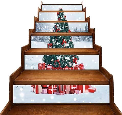 3D Estilo De Navidad Pegatinas De Escalera Set Extraíble Impermeable Casa Decoración Escalera Calcomanía Etiquetas De Escaleras Murales, Tamaño 39.4 X 7.1