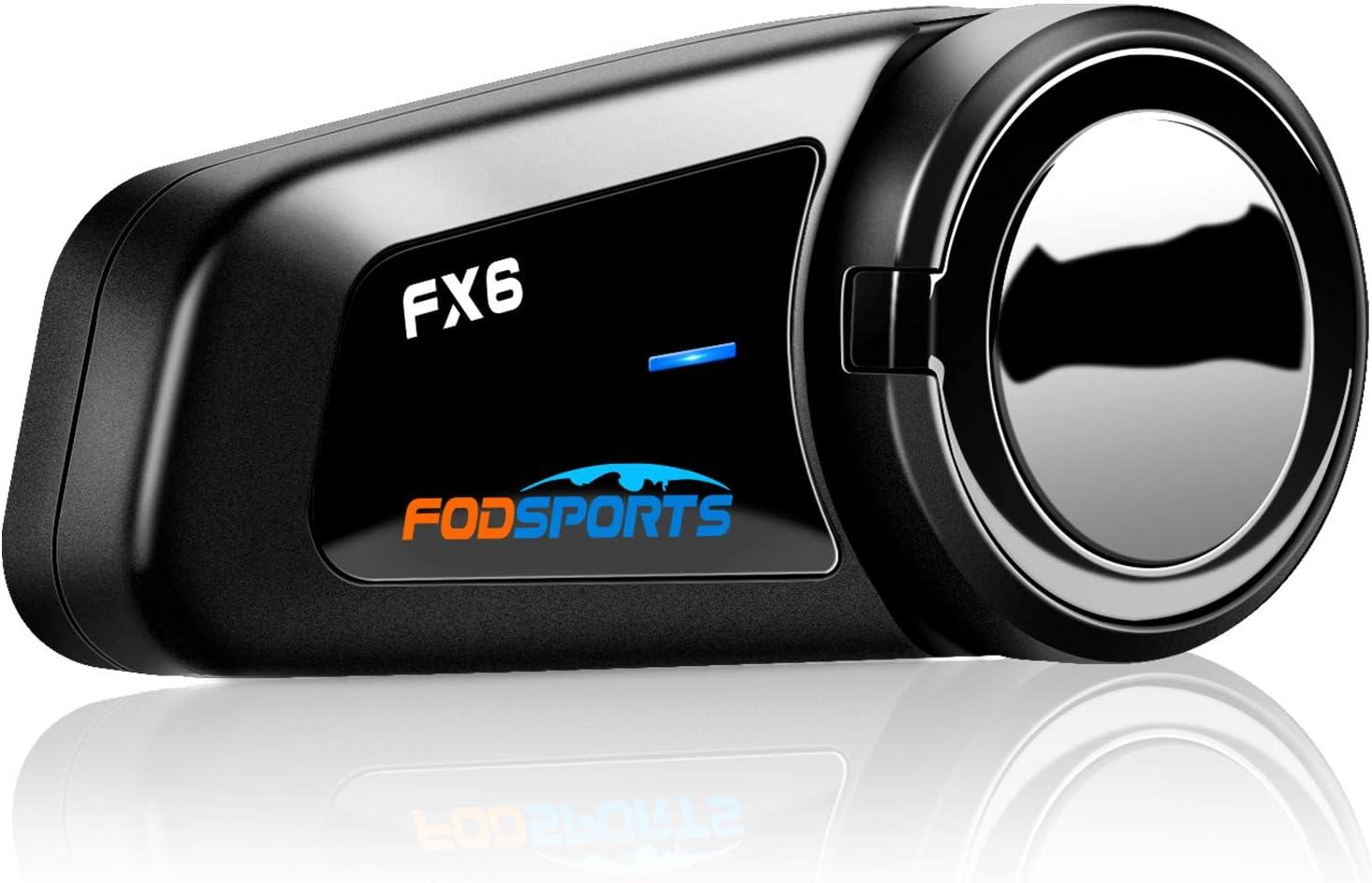 FODSPORTS FX6 Intercomunicador Casco Moto con CVC Reduce El Ruido,Sonido Estéreo Hi-Fi,Manos Libres Bluetooth Auricular con Navegación GPS por Voz,Función FM,Intercomunicador 6 Jinetes,Batería Fuerte