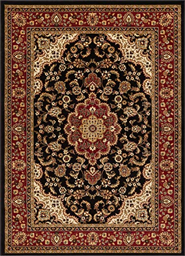 Well Woven Barclay Medallion Kashan Black Traditional Area Rug 5'3