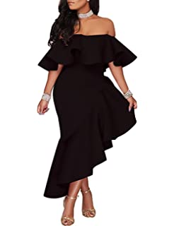 457d5b98d5bd Boutiquefeel Women Fold Over Off Shoulder Peplum Midi Dress Black XL ...