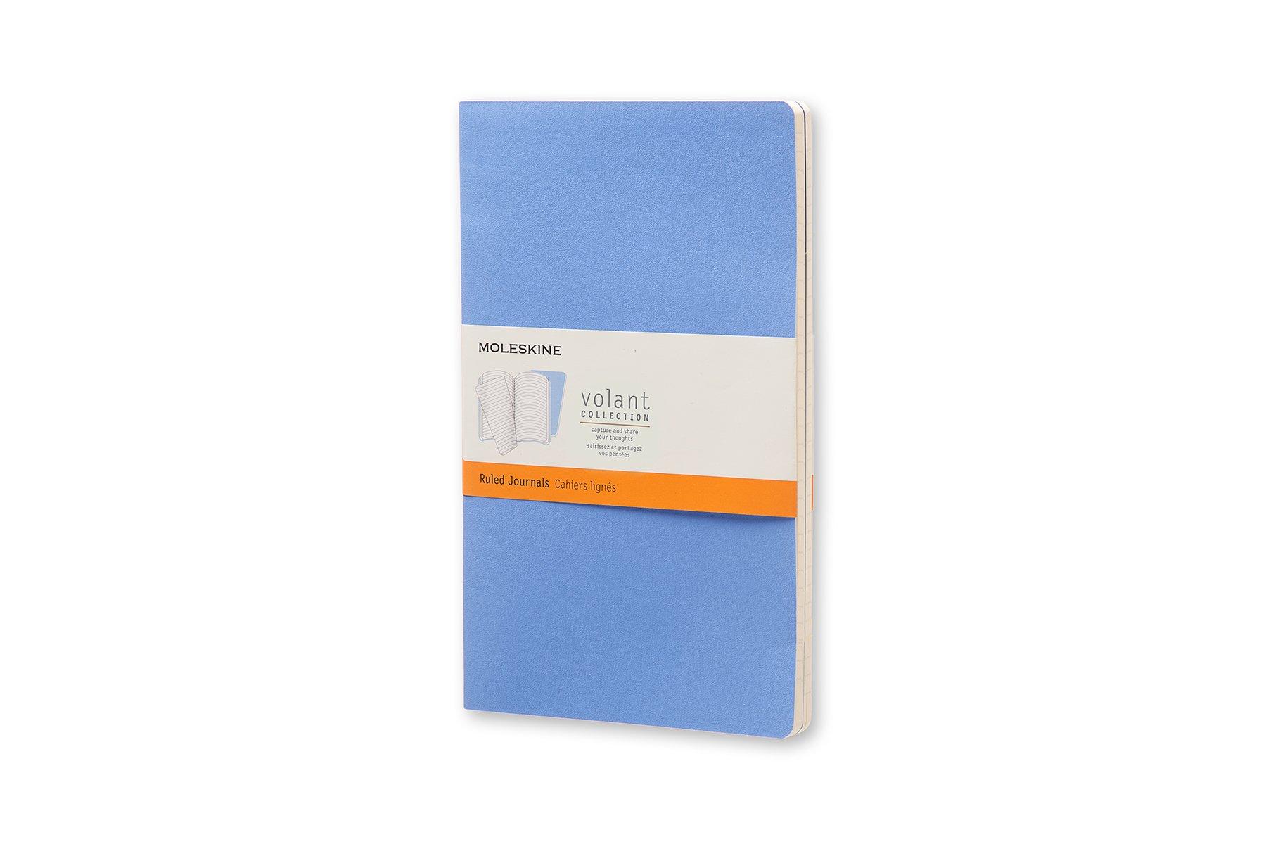 Moleskine Volant Soft Cover Journal, Blue, Ruled, Large x2