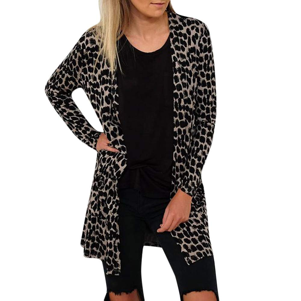 GIFC ▶Clearance Womens Casual Leopard Printed Open Cape Coat Loose Sleeve Kimono Cardigan Tops