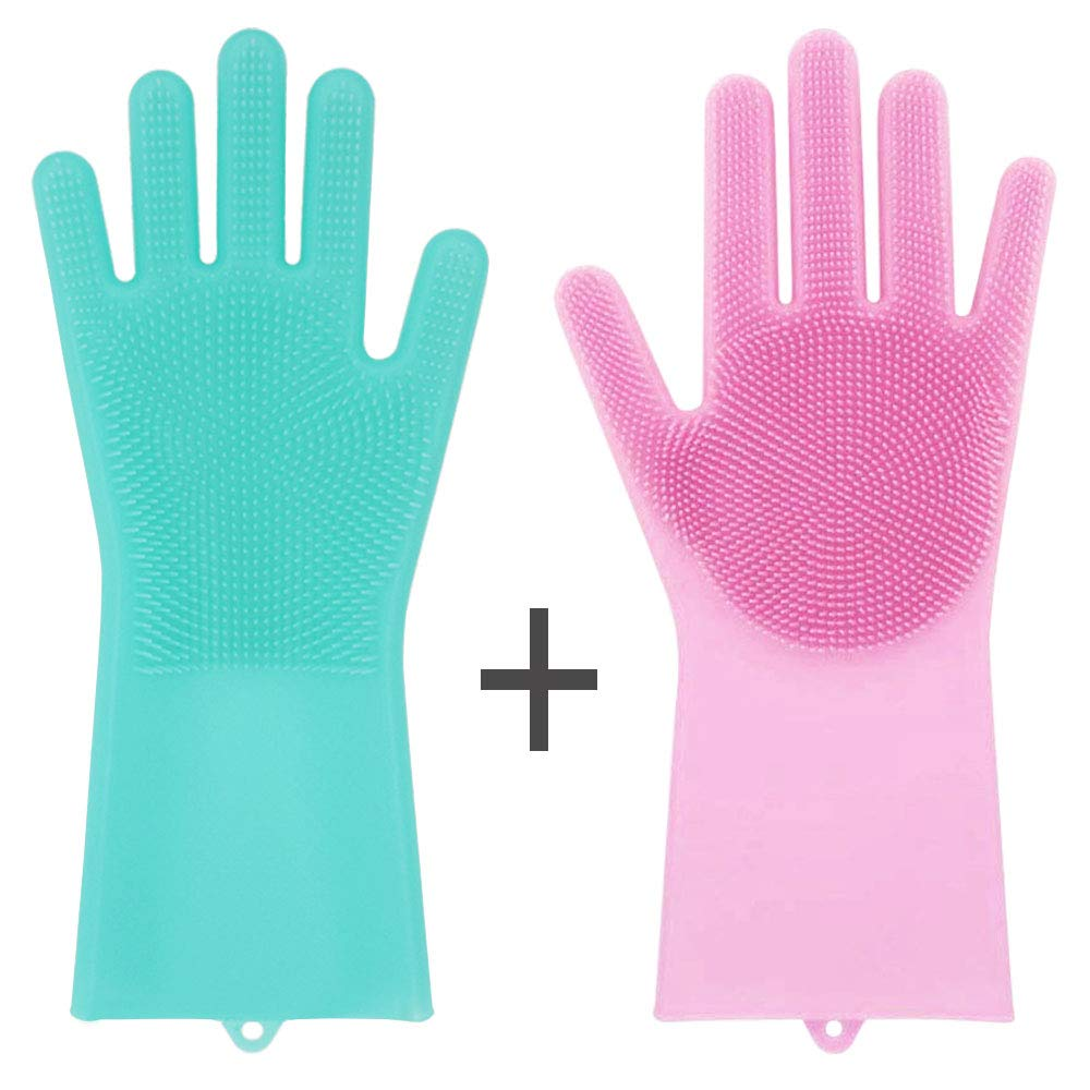 CUGBO 2 Pairs Magic Silicone Gloves with Wash Scrubber, Reusable Wash Gloves for Dishwashing, Household, Bathroom, Washing The Car, Pet Hair Care, Eco Friendly Rubber Heat Resistant