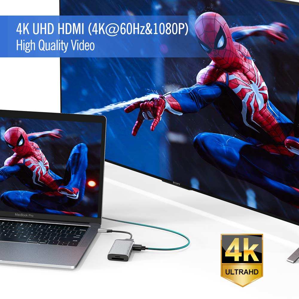 USB-C a HDMI 4K Adaptador de Concentrador Tipo C 8 en 1 con Puerto Gigabit Ethernet RJ45 Lector de Tarjetas TF//SD BYTTRON Hub USB C 3 Puertos USB 3.0 Puerto de Suministro de Energ/ía