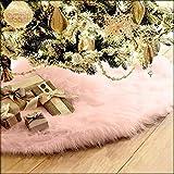 TIFENNY 78cm Christmas Plush Long Haired Christmas Tree Skirt Christmas Tree Skirt Decor