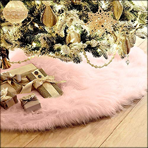 Quaanti New 78cm Christmas Plush Long Haired Christmas Tree Skirt Christmas Tree Skirt Decor Christmas Decorations for Home (Pink)