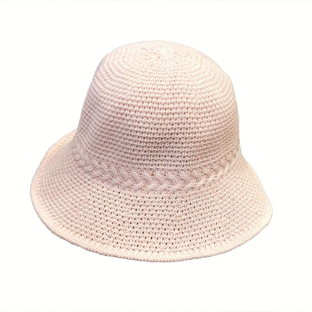 Ink cap Bucket Hat Spring and Summer Folding Openwork Knit Hat Casual Wild Top Hat British Fisherman Cute Flip Basin Hat Travel Beach Hat (Color : Natural)