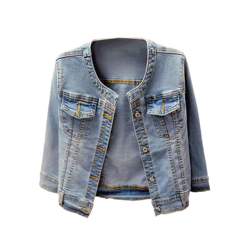 Lingswallow Womens Classic Denim Jacket Plus Size Loose Long Jean Jacket
