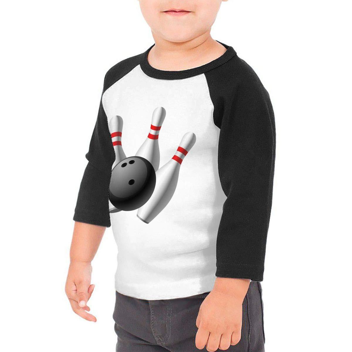 Kid's Boys& girls Bowling 3/4 Sleeve Raglan Tee Shirt For 2-6T Fillmore-M